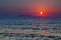 Sunset at Corfu island in Greece Royalty Free Stock Photo