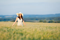 Sunset corn field beautiful brunette woman walk Royalty Free Stock Photography