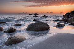 Sunset on a Cornish Beach Stock Images
