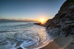 Sunset on a Cornish Beach Stock Photography