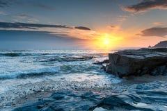Sunset on a Cornish Beach Royalty Free Stock Image