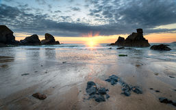 Sunset on the Cornish Coast Stock Photography