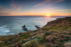 Sunset on the Cornish Coastline Royalty Free Stock Photography