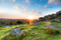 Sunset in the Cornish Countryside Royalty Free Stock Photo