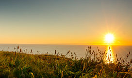Sunset cornwall. Sunset from the cliffs of cornwall Stock Images