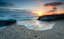 Sunset on the Cornwall Coast Stock Images