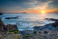 Sunset on the Cornwall Coast Stock Photo