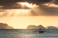 Sunset at Corong Corong beach, El Nido, Palawan in the Philippines Royalty Free Stock Photos