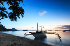 Sunset at Corong Corong beach, El Nido, Palawan in the Philippines Stock Image