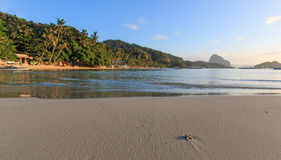 Sunset at Corong Corong beach, El Nido, Palawan in the Philippines Royalty Free Stock Images