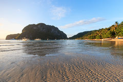 Sunset at Corong Corong beach, El Nido, Palawan in the Philippines Stock Photos