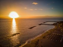 Sunset at Costa Adeje - aerial photo. Sea and the sky royalty free stock photos