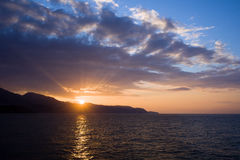 Sunset at Costa del Sol in Spain Stock Photography