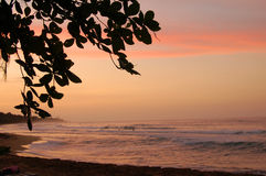 Sunset on Costa Rican beach stock images