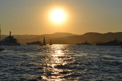 Sunset on the Cote d'Azur Stock Image