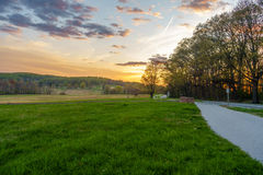 Sunset at country side. Beautiful sunset in the country side of Valley Forge Stock Photos