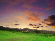 Sunset in countryside Stock Photography