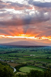 Sunset in countryside Stock Photo