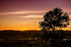 Sunset in the countryside. Beautiful country town in the evening for a beautiful sunset stock photography