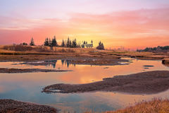 Sunset in the countryside from Iceland Stock Photography