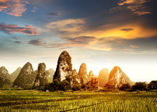 Sunset in the countryside landscape Stock Images