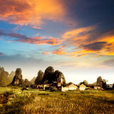 Sunset in the countryside landscape Stock Image