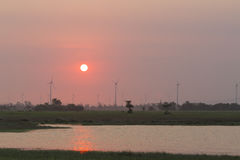 Sunset. In countryside with wind towers and grazing animals Stock Photo