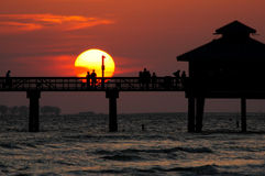 Sunset couple. Fort Myers Beach Sunset couple Royalty Free Stock Photos