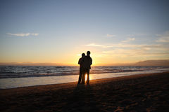 Sunset couple stock photos