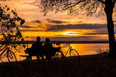 Sunset, Couple, Lake Constance Royalty Free Stock Photography