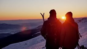 Sunset Couple Winter People Ski Slowmotion stock footage