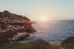 Sunset from the cove. Mediterranean - Spain Royalty Free Stock Photos