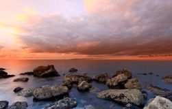 Sunset at the Cove portland dorset Royalty Free Stock Photo