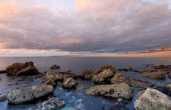Sunset at the Cove portland dorset Royalty Free Stock Images