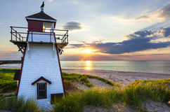 Sunset at Covehead Harbour Lighthouse, PEI Royalty Free Stock Images