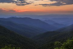 Sunset from Craggy Gardens, Blue Ridge Parkway, NC royalty free stock photo