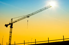 Sunset crane Stock Image