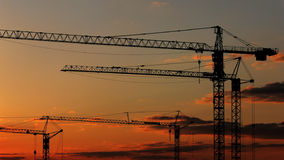 Sunset cranes Royalty Free Stock Photos