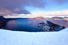 Sunset at Crater Lake , Crater Lake National park, Oregon Royalty Free Stock Photos