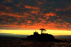 Sunset in Crescent City. Crescent City lighthouse a moment after sunset Royalty Free Stock Image