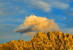 Sunset on the Crest. Beautiful sunset colors on a rocky crest in Le Devoluy Massif in Hautes-Alpes, France Stock Images
