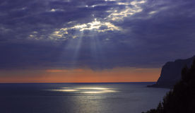 Sunset of Crimea. Coast Sarich. Black sea. Ukraine. Royalty Free Stock Image
