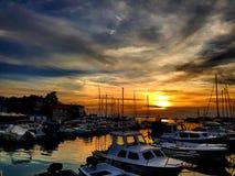 Sunset in croatia, island krk, harbour malinska. Sunset in malinska Stock Photo