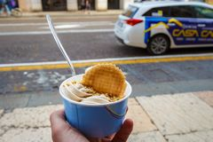 Sunset at the croatian coastIce cream with waffle royalty free stock photo