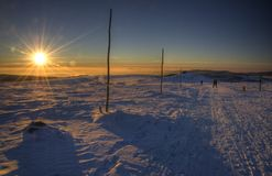 Sunset on cross-country ski track Royalty Free Stock Photography