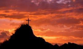 Sunset Cross Hill Top Stock Photo