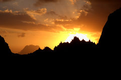 Sunset crown. Sunset, that lightens crown-like mountain range in Fann mountains, Tajikistan Royalty Free Stock Photography