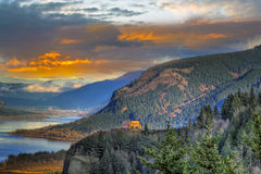 Sunset at Crown Point. Sunset on Vista House on Crown Point Columbia Gorge Royalty Free Stock Images