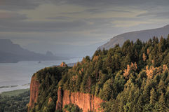 Sunset on Crown Point. Sunset on Vista House at Crown Point Columbia Gorge Oregon Stock Photo