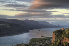 Sunset on Crown Point 2. Sunset on Vista House at Crown Point Oregon 2 Royalty Free Stock Images